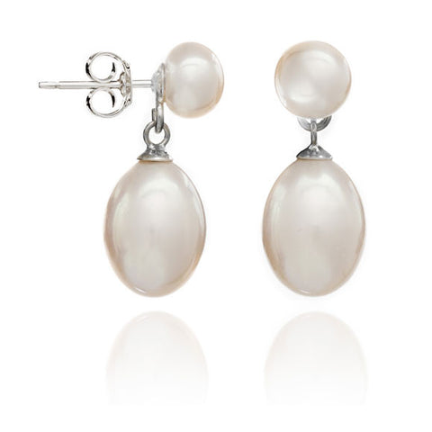 White button cultured freshwater pearl stud with teardrop earrings