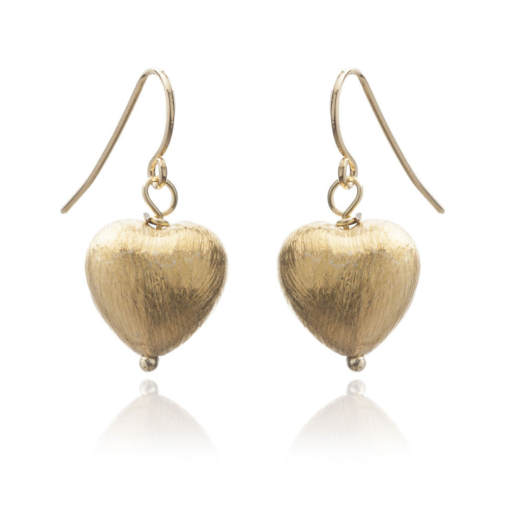 Amare matt gold plated heart drop earrings
