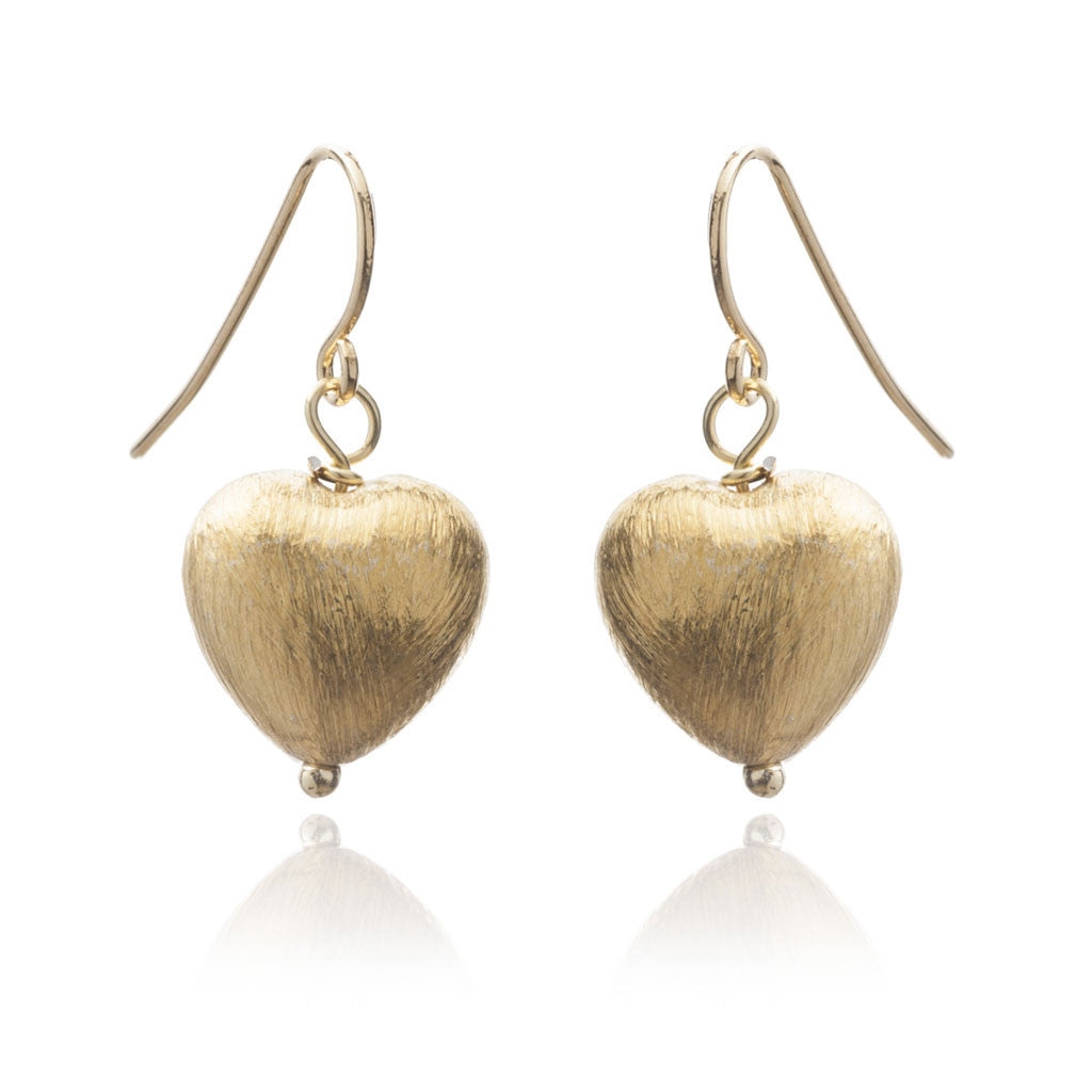 Matt gold plated heart drop earrings