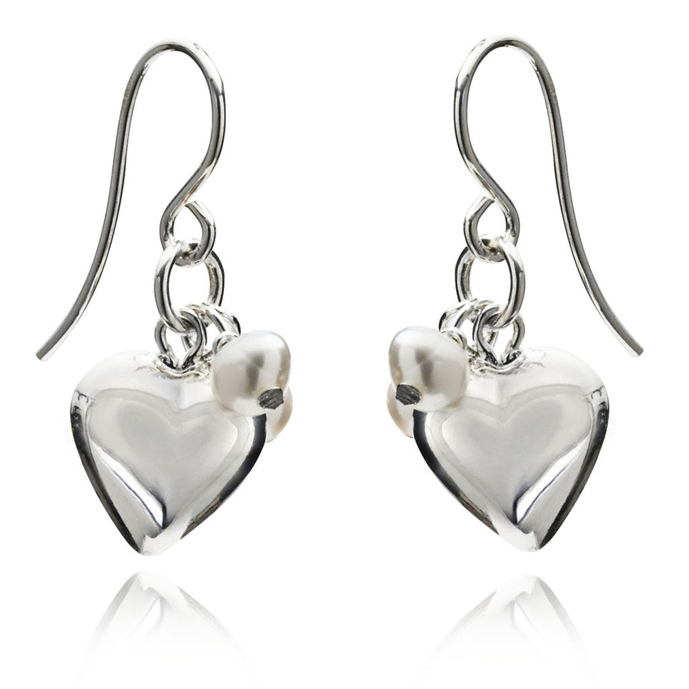 Amare sterling silver puffed heart earrings with cultured freshwater pearls