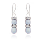 Gratia grey oval cultured freshwater pearl & silver rondelle drop earrings
