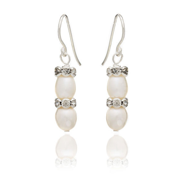 White oval cultured freshwater pearl & silver rondelle drop earrings