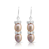 Gratia pink oval cultured freshwater pearl & silver rondelle drop earrings