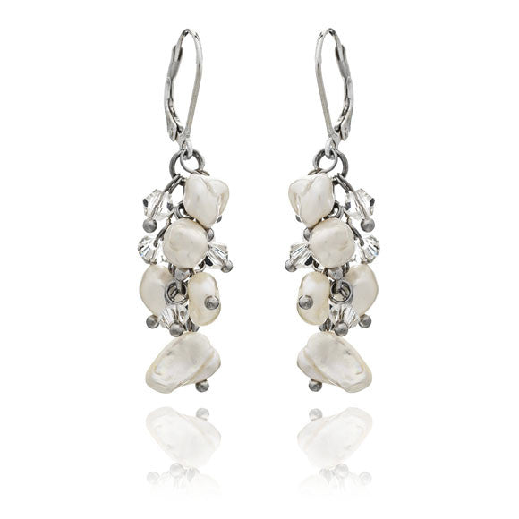 White keishi pearl & crystal earrings on silver levers
