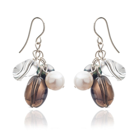 Smokey quartz & freshwater pearl hanging earrings