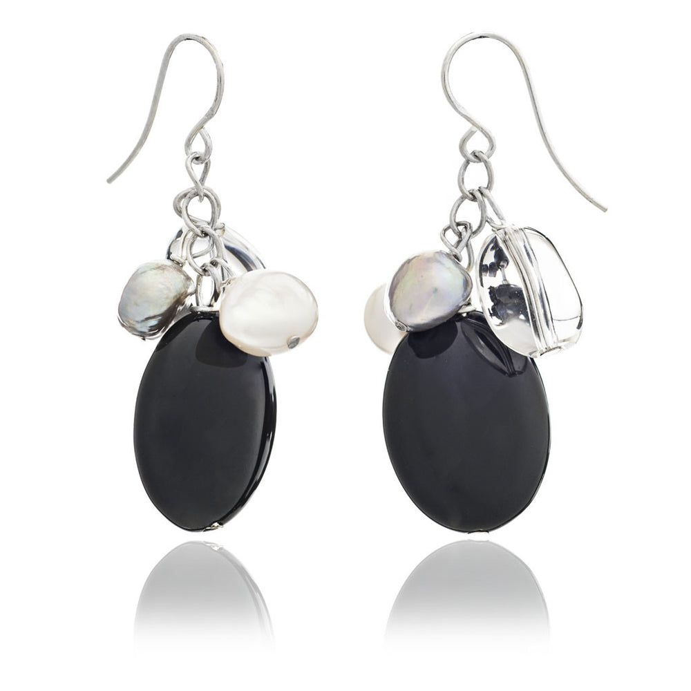 Clara onyx & freshwater pearl hanging earrings