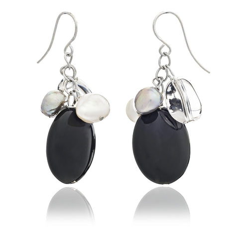 Onyx & freshwater pearl hanging earrings