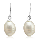 White oval baroque cultured freshwater pearls on sterling silver hooks
