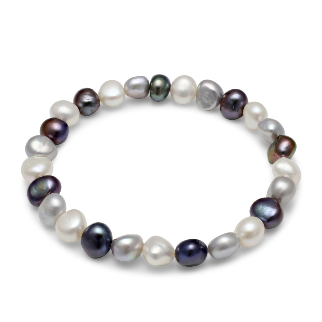 Grey, black & white cultured freshwater pearl bracelet