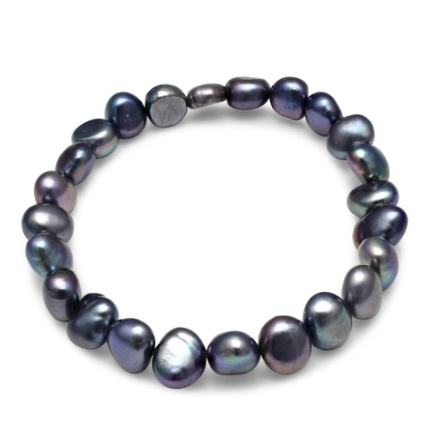 Black cultured freshwater irregular-shaped pearl bracelet