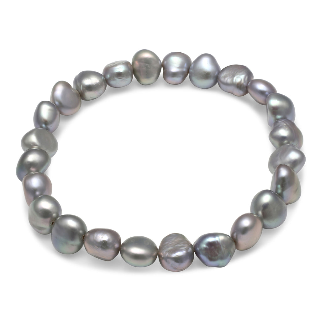 Silver grey irregular cultured freshwater pearl bracelet