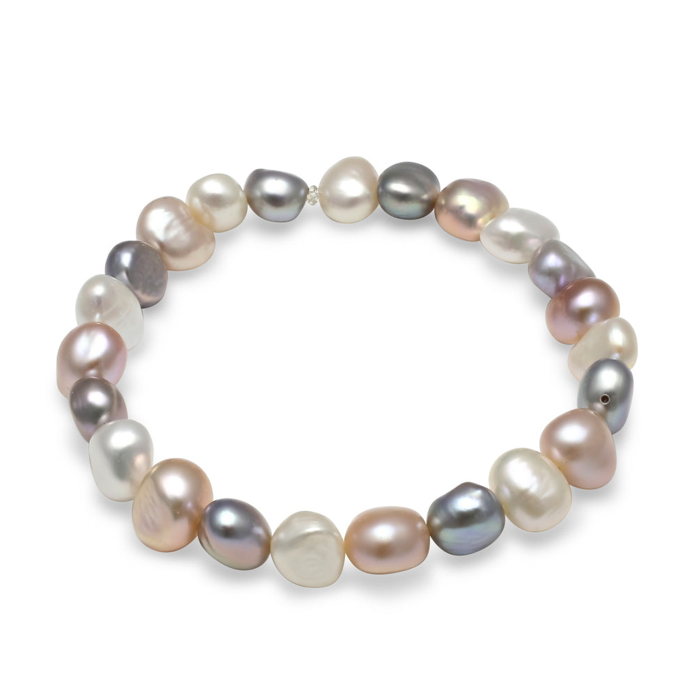 Margarita pink, grey & white cultured freshwater irregular-shaped pearl bracelet