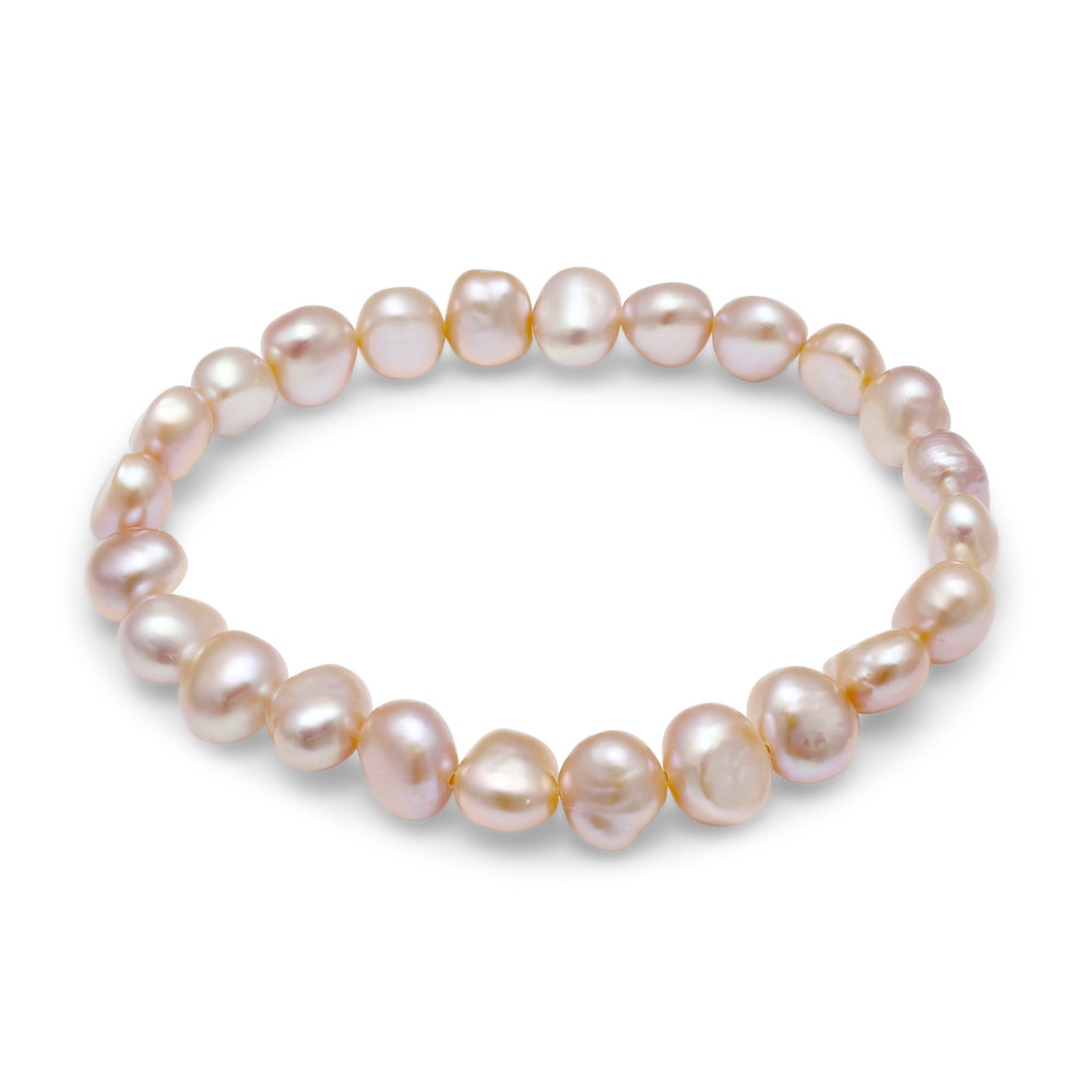 Pink cultured freshwater irregular-shaped pearl bracelet