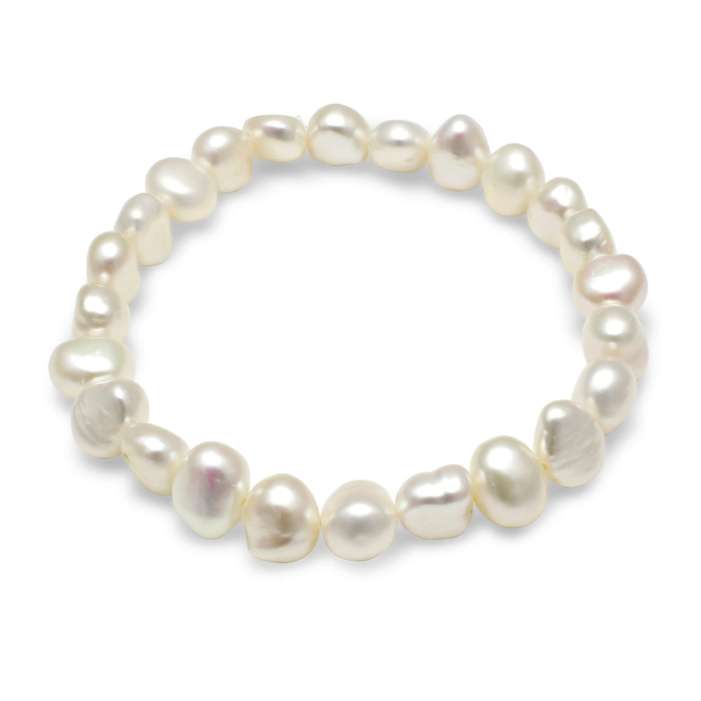 White cultured freshwater irregular-shaped pearl bracelet