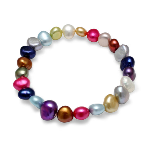 Multi-coloured cultured freshwater pearl bracelet