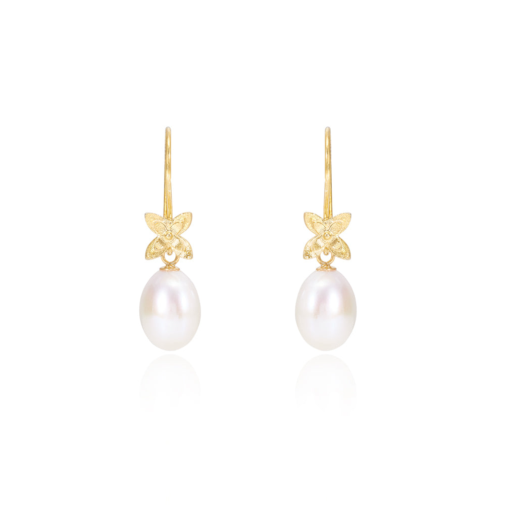 Vita cultured freshwater pearl drop gold flower earrings