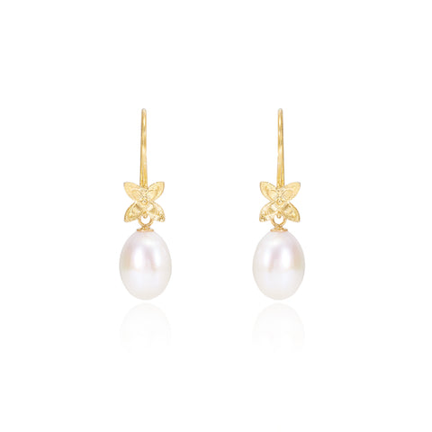Cultured freshwater pearl drop gold flower earrings