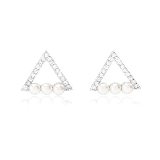Stella triple pearl triangular style stud earrings