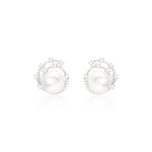 Stella cultured freshwater pearl stud earrings with silver sparkle swirl