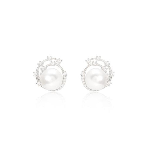 Cultured freshwater pearl stud earrings with silver sparkle swirl