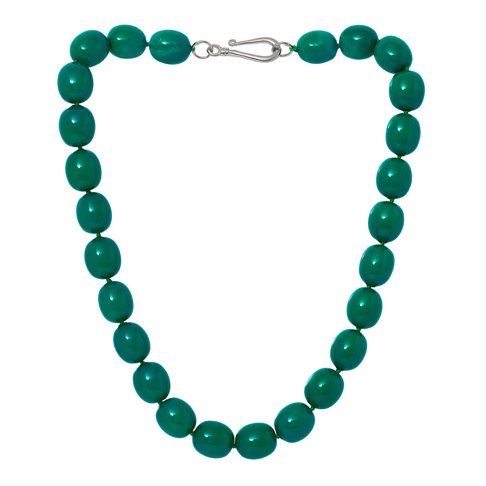 Clara large chunky emerald green coloured Mother Of Pearl Necklace