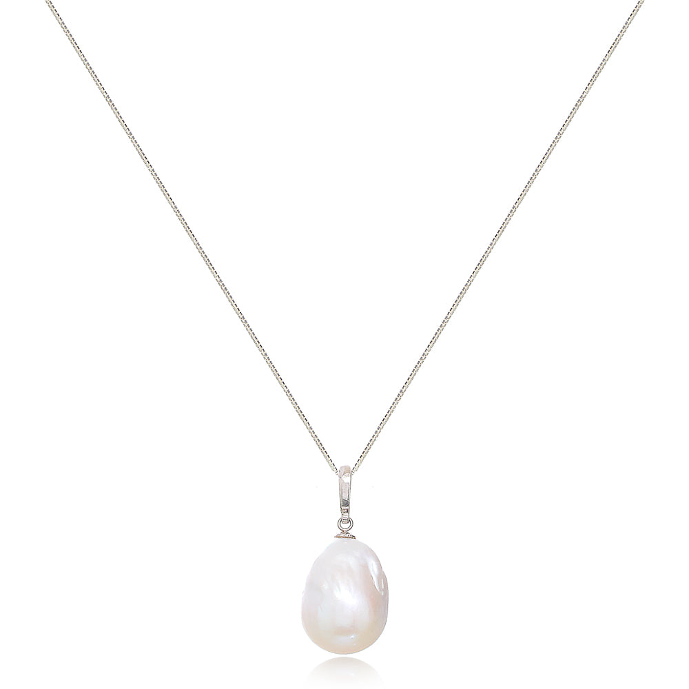 Decus large baroque cultured freshwater pearl drop pendant on sterling silver bale
