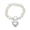 White cultured freshwater pearl bracelet with silver hammered heart pendant