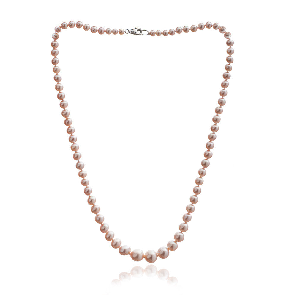 Gratia classic graduated almost round pink cultured freshwater pearl necklace