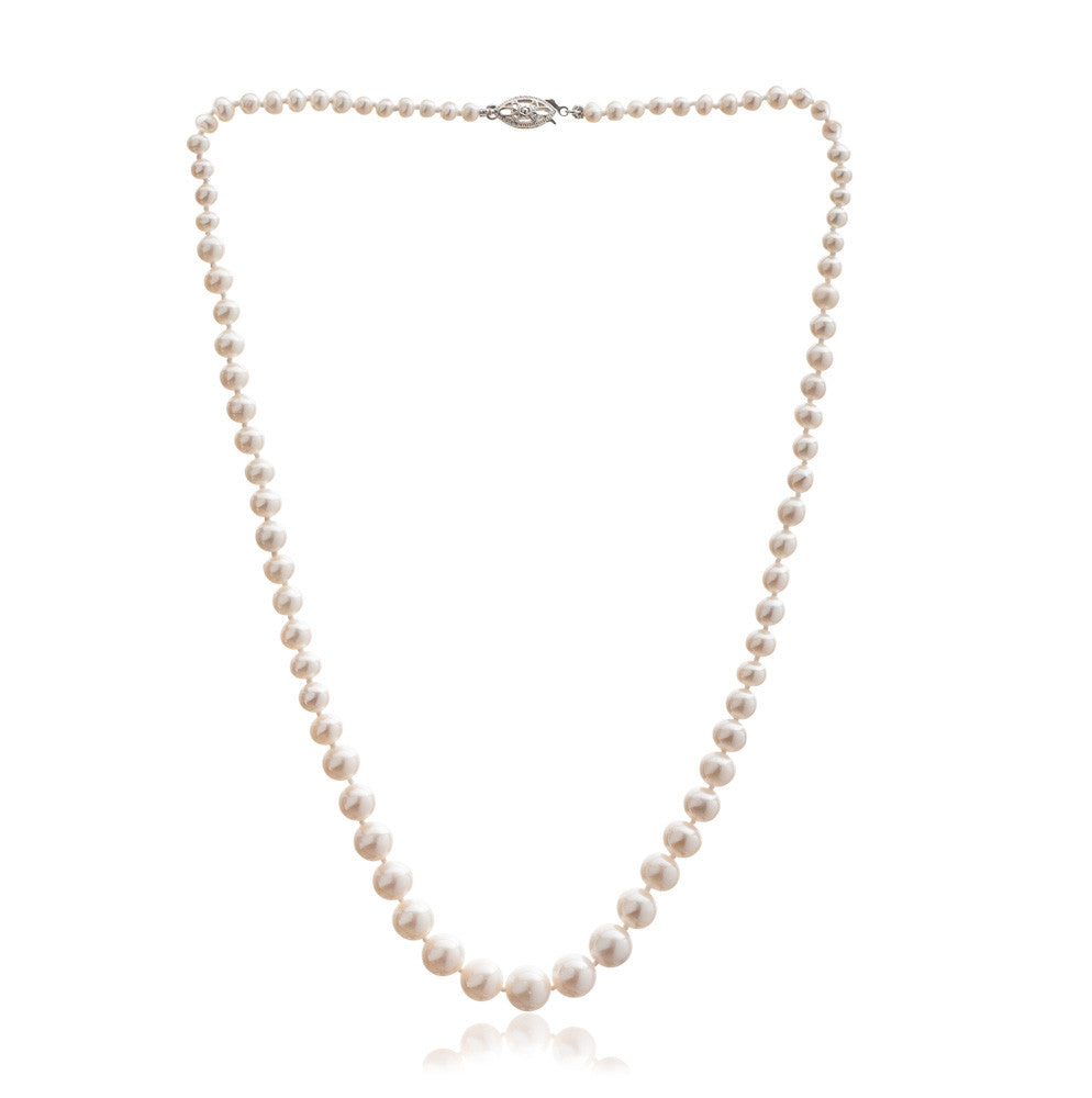 Gratia classic graduated almost round cultured freshwater pearl necklace