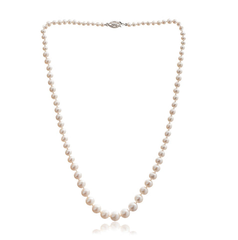 Classic graduated almost round cultured freshwater pearl necklace