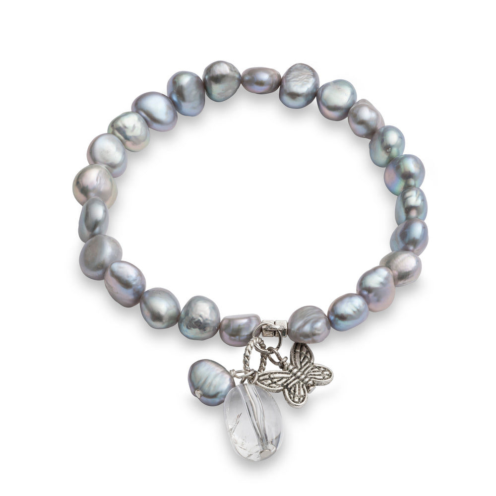 Margarita grey cultured freshwater pearl elastic bracelet with butterfly