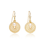Credo disk earrings with pearl drops