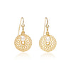 Gold vermeil disk earrings with pearl drops