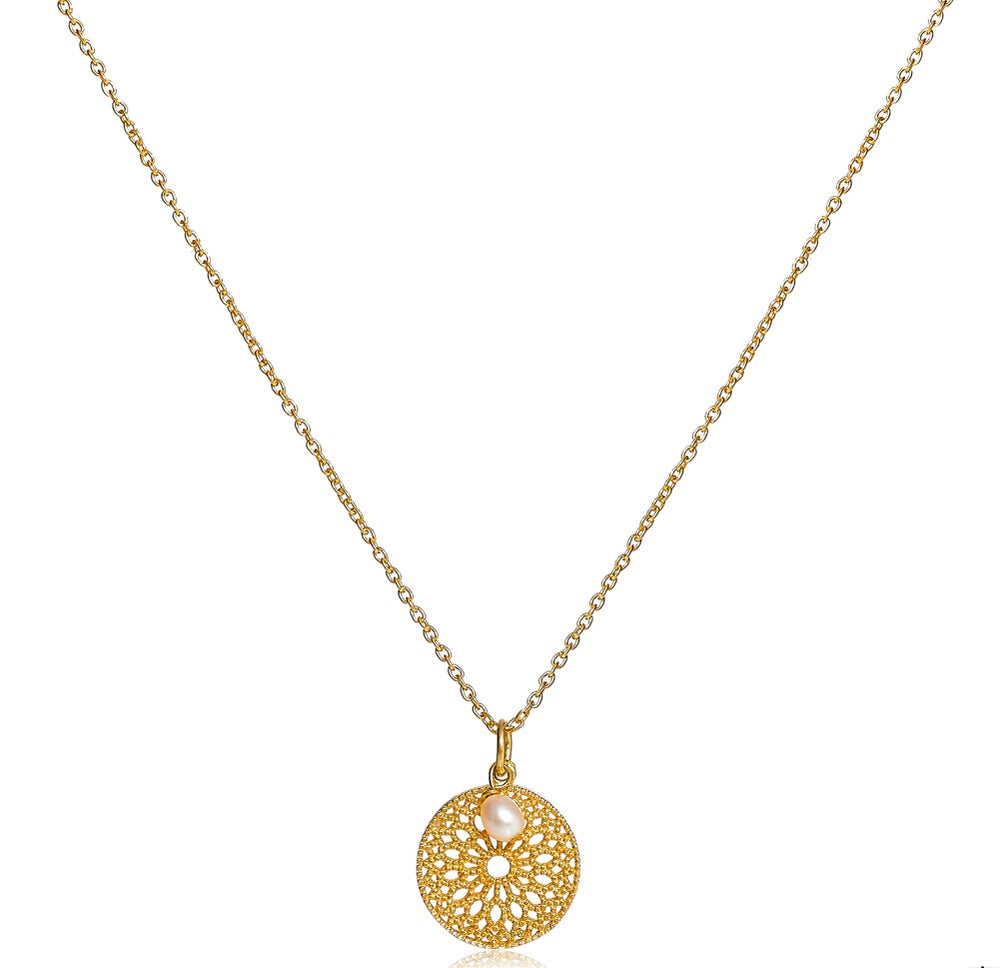 Credo disk pendant with pearl drop