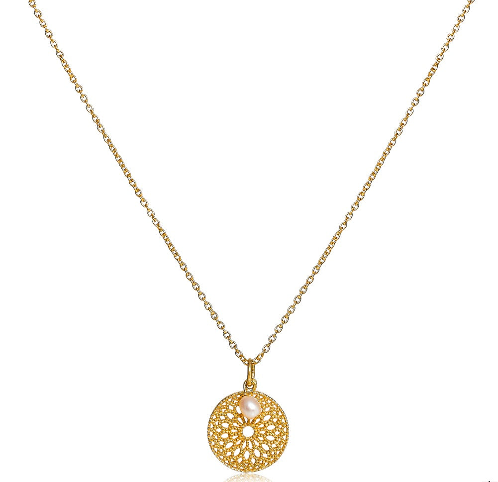 Gold vermeil disk pendant with pearl drop