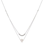 Gratia double silver chain necklace with cultured freshwater pearl