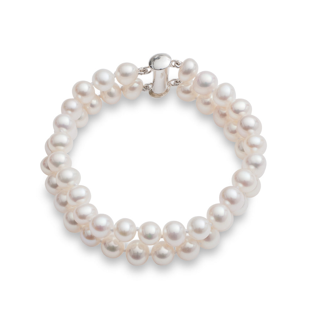 Gratia double-strand white small almost round cultured freshwater pearl bracelet