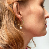 Gratia Large Gold Vermeil Hoop Earrings with Cultured Freshwater Pearl Drops