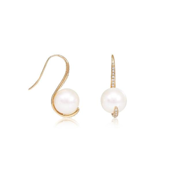 Gratia 9mm cultured freshwater pearl & cubic zirconia curved earrings set in 14kt yellow gold