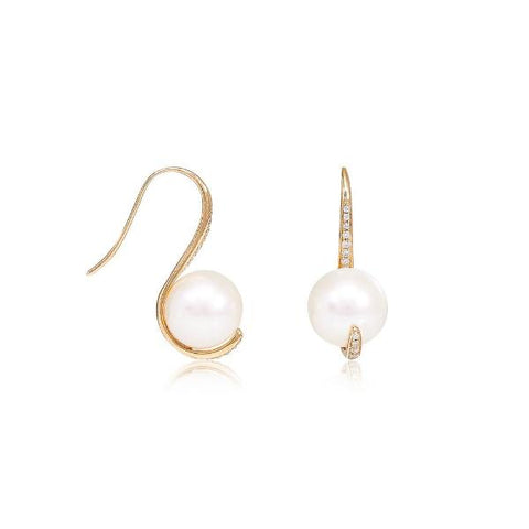 9mm cultured freshwater pearl & cubic zirconia curved earrings set in 14kt yellow gold