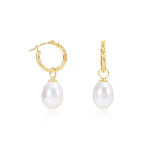 Cultured Freshwater Pearl Drop Earrings On Gold Hoops