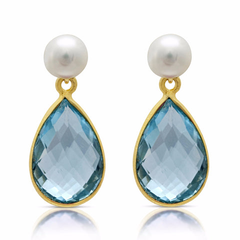 Cultured Freshwater Pearl & Blue Topaz Drop Earrings