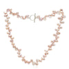Single strand pink side-drilled irregular cultured freshwater pearl necklace