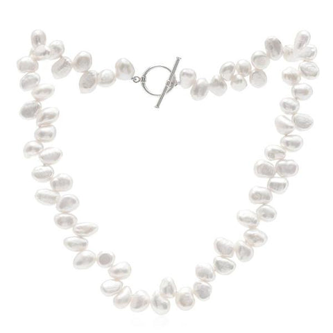Single strand white side-drilled irregular cultured freshwater pearl necklace