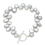 Single strand grey side-drilled irregular cultured freshwater pearl bracelet