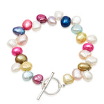 Single strand mixed colour side-drilled irregular cultured freshwater pearl bracelet