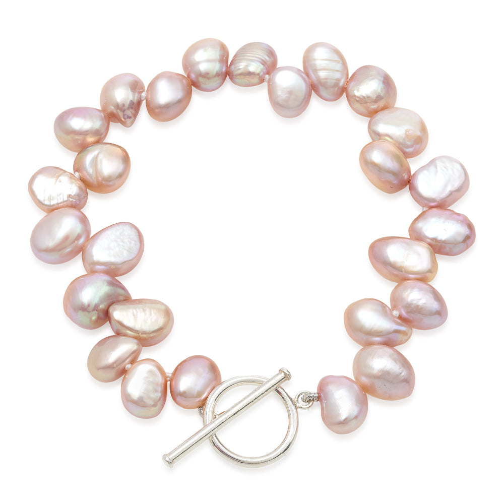 Single strand pink side-drilled irregular cultured freshwater pearl bracelet