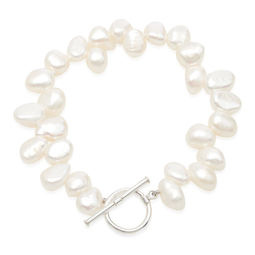 Single strand white side-drilled irregular cultured freshwater pearl bracelet