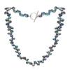 Single strand black side-drilled irregular cultured freshwater pearl necklace