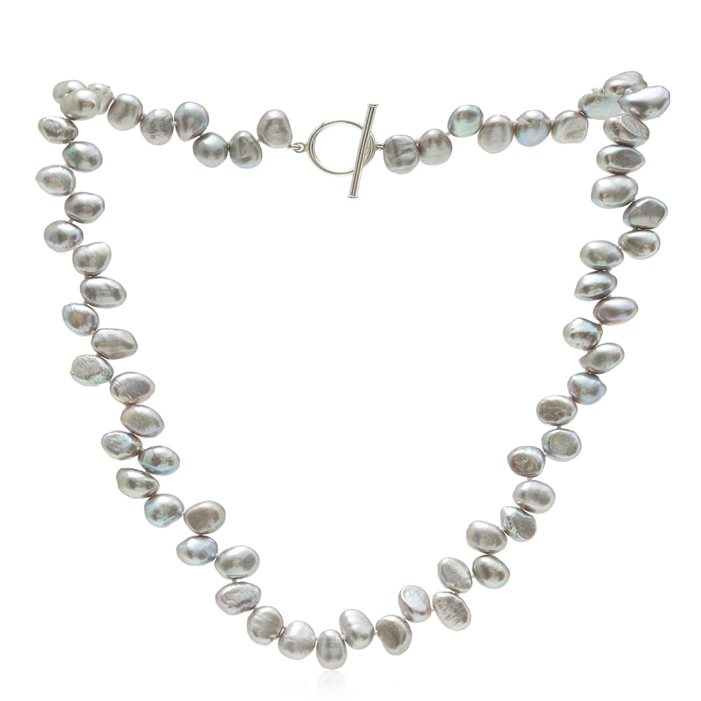 Single strand grey side-drilled irregular cultured freshwater pearl necklace